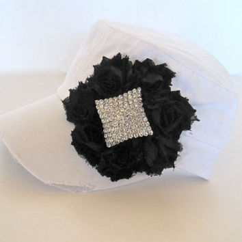 White Classy Cadet Military Distressed Hat with a Black Chiffon Flower and Gorgeous Rhinestone Accent