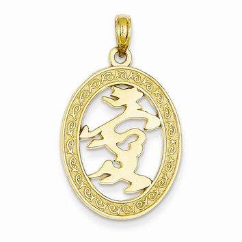 14k Gold Chinese Happiness Symbol in Oval Frame Pendant