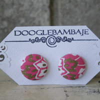 Royal Flower Design- Pink Gold & White Flower Leaf Designs Vintage Fabric Button Earrings - Wedding Classy Line