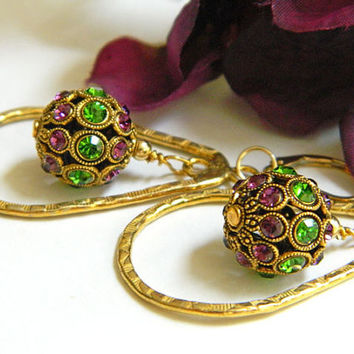 Purple and Green Crystal Dangle Earrings Handcrafted Gold Short Unique