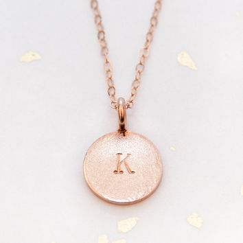 Rose Gold Handstamped Initial Necklace - 14K Rose Gold Plated or Sterling Silver Personalized Necklace - Uppercase Initial Circle