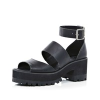 Black chunky strap block heel sandals - sandals - shoes / boots - women