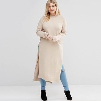 Plus Size Beige Long Sleeve Knitted Tunic