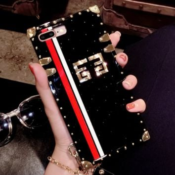 Givenchy New fashion red white stripe print iphone metal rivets phone case Black