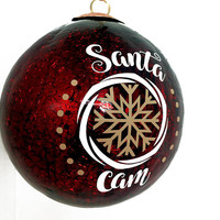 "Santa Cam Christmas Ornament - Large 4"" Dark Red Crackle Christmas Ball - Christmas Game Gift for Kids, Fake Camera for Santa, Holiday Decor"