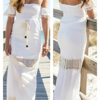 Madam Sunrise White Crochet Boho Lace Maxi Dress