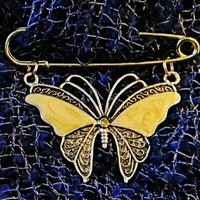 Yellow Gold Toned Butterfly Scarf or Shawl Pin/Brooch