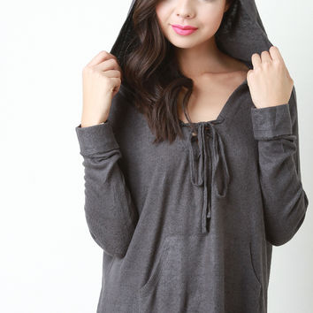 Boxy Lace Up Neckline Pull Over Sweater