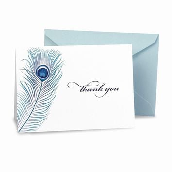 Peacock Feather Thank You (box of 50) Cards - Perfect Wedding Gift