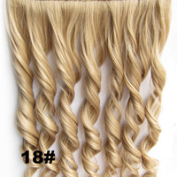 Clip in synthetic hair extension hairpieces 5 clips in on wavy slice hairpiece GS-888 18#,60cm,130grams,16 colors available 1pcs