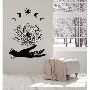 Vinyl Wall Decal Yoga Studio Room Hand Spa Relaxation Lotus Flower Stickers Mural (g2684)
