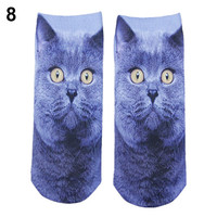 The Most Popular Casual Women's Low Cut short Sock 3D Printed Cartoon Animal Cat Patterns Anklet Hosiery