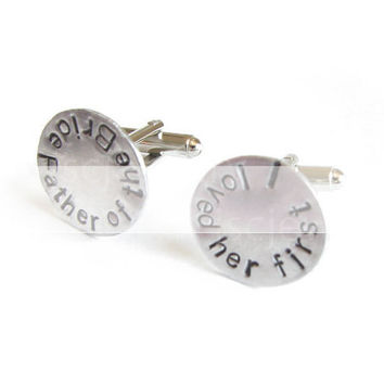 Father of the Bride Cufflinks Hand Stamped Wedding Men Cuff Links Personalized Keepsake Gift