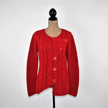 Women Red Cardigan Sweater Medium Cable Knit Wool Alpaca Boho Cardigan Grunge Sweater Asymmetrical Off Set Vintage Clothing Womens Clothing