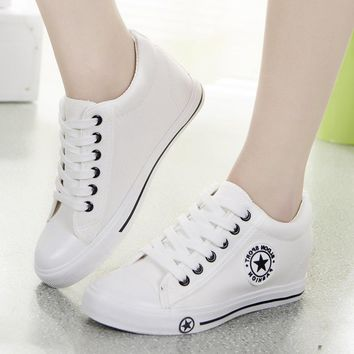 Summer Sneakers Women Trainers Wedges Casual Lace Up Canvas Shoes Female Basket Femme White Black Blue