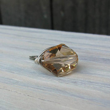 Wire Wrapped Ring Champagne Color Swarovski Crystal by UrbanCorner