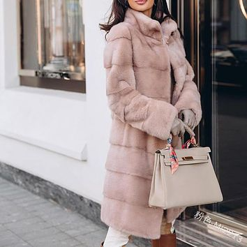 Turtleneck Faux Fur Longline Coat