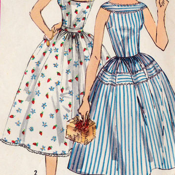 "1950s Summer Dress Vintage Sewing Pattern, Summer Fashion, Sun Dress, Rockabilly, Full Skirt, Simplicity 2124 bust 34"" uncut"