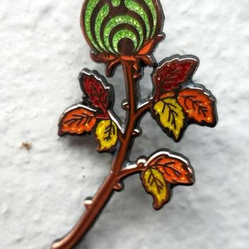 The Emerald Autumn Rosebud Nectar Flower Bassnectar Hat Pin
