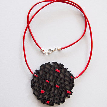 Necklace, modern, contemporary jewellery, FREE Shipping, unique, architectural, handmade, lasercut wood, leather cord, silver plated