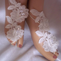 Ivory Barefoot Sandals, Ivory Lace Barefoot Sandals, Ivory Wedding Bottomless Sandals, Beach Bride Sandals, Beach Wedding Sandals, Foot Wear