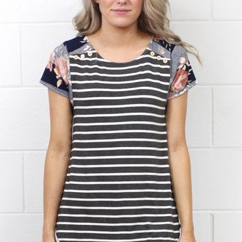 Double Take Floral + Stripes Mixed Up Top {Charcoal Mix}