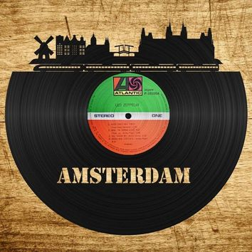 Best Wall Art, Vinyl Record Wall, Amsterdam, Boyfriend Wall Art, Windmill Wall Art, Best Cityscape, Amsterdam Wall Decor, Amsterdam Gift