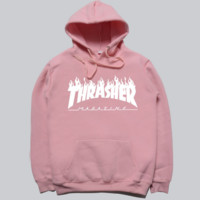 THRASHER Fashion women men flame sweater hat hooded couple lovers long-sleeved jacket Grey