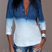SEXY DARK DENIM BLUE JEANS OMBRE' SNAP COLLAR SHIRT BLOUSE FADED TOP SMALL S