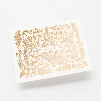 Rose Gold Thank You Greeting Card by RIFLE PAPER Co.   Made in USA