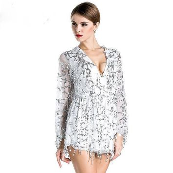 PEAPUNT Free Shipping Missord 2015 Sexy deep v-sleeved sequined  rompers playsuits FT2800
