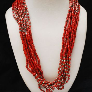 red Multi Strand Necklace -  red Glass Beads - crochet  1953  Coin clasp-  torsade India Naga