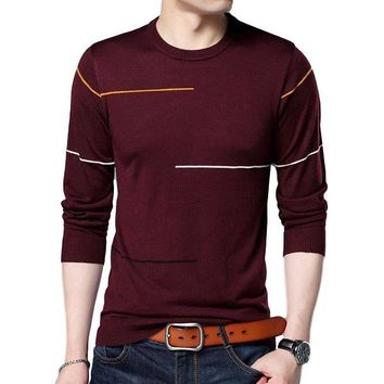 Cashmere Wool Sweater Men Slim Warm Sweaters O-Neck Pullover