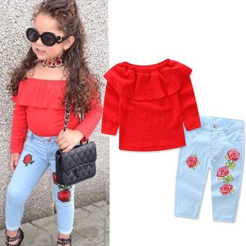 2017 Toddler Girls Kids Off Shoulder Tops Denim Floral Pants Jeans 2pcs Outfits Set Clothes Pullover Sunsuit
