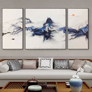3 pieces Wall Art mountains Peaks Modern landscape abstract birds Oil Art Painting on canvas Blue Original large Pictures cuadros abstractos