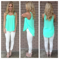 Neon Mint Sleeveless Dobby Blouse