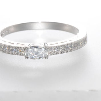 Sterling Silver Cubic Zirconia Ring with Rectangular Center Stone 2mm Wide Band