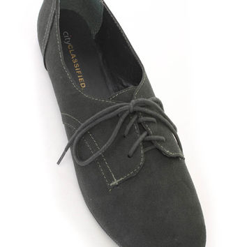 Dark Green Faux Suede Shoe Laces Flats