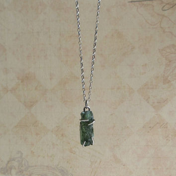 Raw Green Apatite Necklace, Sterling Silver, Rough Apatite Pendant, Emerald Green Gemstone, Antiqued Jewelry