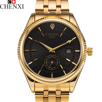 2016 CHENXI Calendar Gold Quartz Watch Men Clock Top Brand Luxury Wrist Watches Golden Hodinky Relogio Masculino quartz-watch