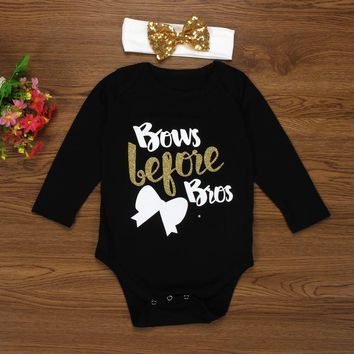 2Pcs Newborn Baby Girl Long Sleeve Romper+Headband Bows Before Bros