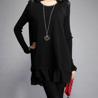 Black Long Sleeve Chiffon Dress