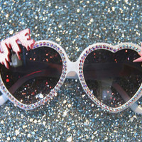 Creepy Cute Heart White Sunglasses Accessory Sunnies Cute Kawaii Lolita Retro by Cutie Dynamite