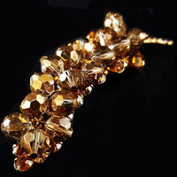 "JULIANA Brooch Pin D&E Figure 8's Mink Brown Crystal Bead Cluster 3.5"" Vintage"