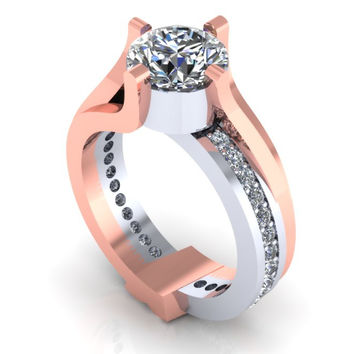Modern Engagement Ring Rose Gold and White Gold 14 k