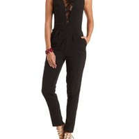 Deep Lace V Sleeveless Jumpsuit by Charlotte Russe - Black