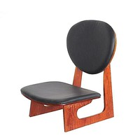 Japanese Style Wood Low Chair Mahogany Finish Furniture For Healthy Life Style