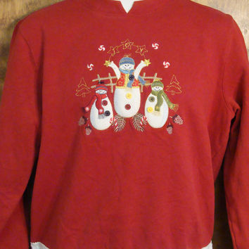 Snowman Trio Red Christmas Sweatshirt