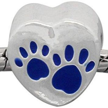 Blue Love Heart Dog Paws Charm Bead