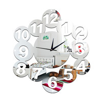 Digit Mirror Living Room DIY Quartz Wall Clock    silver